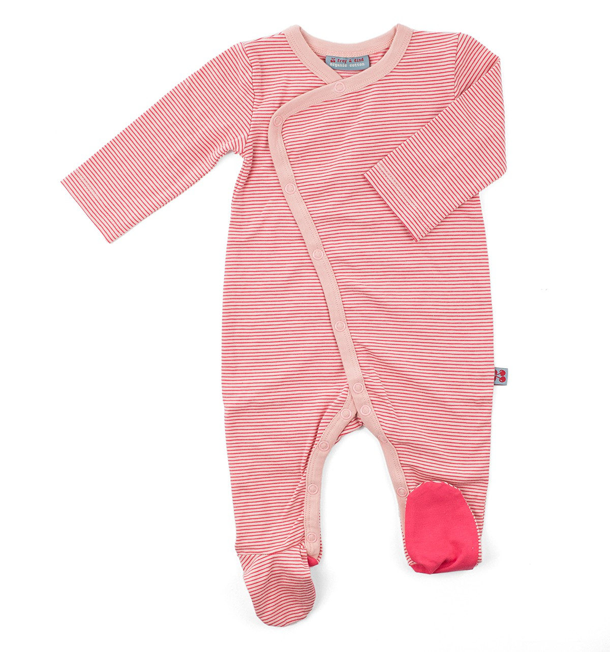 Pink stripe jumpsuit met voetjes