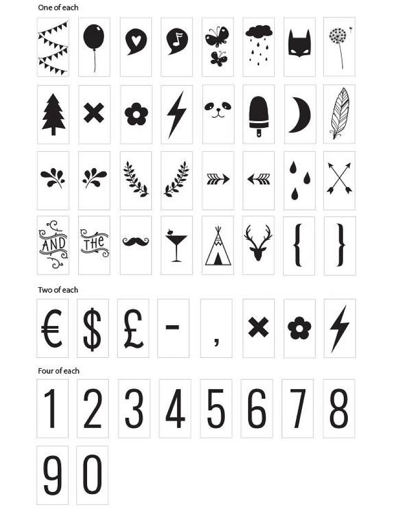 85 numbers and symbols
