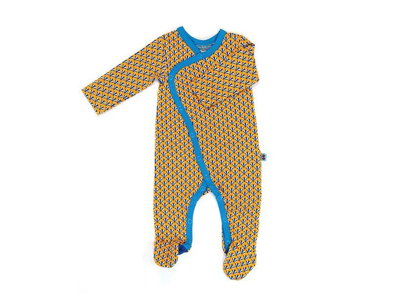 Jumpsuit met voetjes 'artdeco' geel