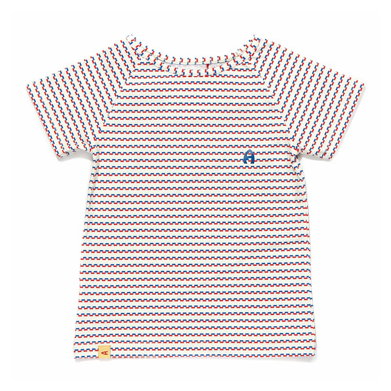 Eddy T-shirt blauw-rood streepje