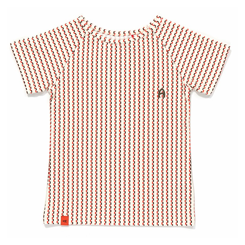 Eddy T-shirt bruin-oranje streepje