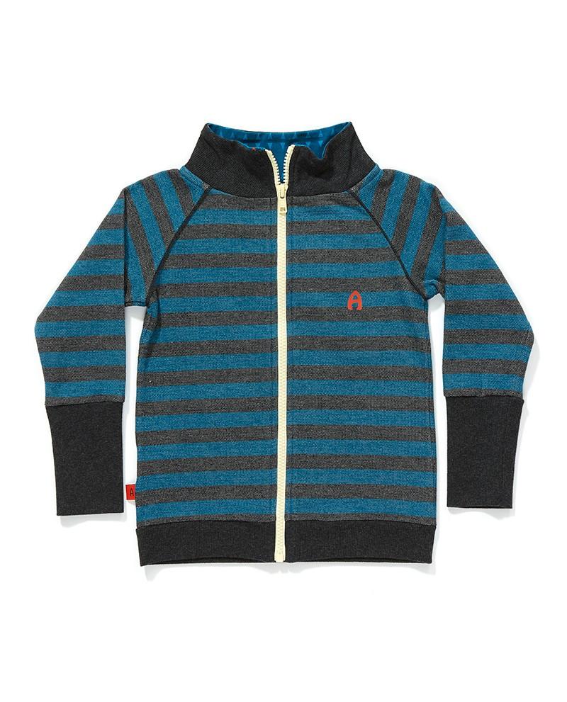 Frank zipper cardigan blauw grijs